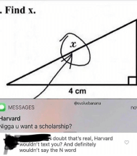 Definitely, Tumblr, and Blog: . Find x.  4 cm  @evolvebanana  MESSAGES  Harvard  Nigga u want a scholarship?  no  doubt that's real, Harvard  wouldn't text you? And definitely  wouldn't say the N word memehumor:  I think it's real.