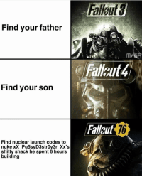Find your father  ( Fallout 4  Find your son  Fallaut  76  Find nuclear launch codes to  nuke xX_Pu5syD3strOy3r_Xx's  shitty shack he spent 6 hours  building