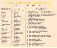 Bad, Birthday, and Butt: FIND YOUR YA BOOK TITLE  and  MONTH YO U  WERE BORN YOUR LAST NAME  LAST LETTER  O F  DAY OF YOUR  BIRTHDAY  1 Other Loose Ends  2 Other Things Im Over 29 Other Royal Bastards  3 Other Lies I've Believed 30 Other Fatal Circumstances  4 Other Big, Round Things 31 Other Skullduggeries  5 Other Things I Can't Have  6 Other Lies I ve Told  7 - Other Statistical Improbabilities  8 - Other Signs of the End of the World  9 Other Things the Fairies Stole  10 Other Impossible Ordeals  11 Other Signs of Vampirism  12 Other Inexplicable Phenomenon  13 Other Things That Nearly Killed Me  14 Other Reasons No One Will Talk To Me  15 Other Holes in the Fabric of the Universe  16 Other Things That Are Better In Space  17 Other Natural Disasters  18 Other Reasons I'm Banned From the Library  19 Other Reasons I Have To Leave the Country  20 Other Things That Should Happen At Midnight  21 Other Side Effects of Being 16  22 Other Intangible Things  23 Other Peculiar Melancholies  24 Other Steps to Madness  25 Other Alternatives to Necromancy  28 Other Bad Ideas  A - The Sun  B- Planets  C Evil Plots  D Fairy Princes  E-Fate  F - The Statue of Liberty  G-My Butt  H- Nikola Tesla  I The End of the World  J - The Universe  K Book Club  L Tarot Cards  M Assassins  N Frida Kahlo  O Spies  P Dirty, Rotten Lies  Q Rainy Saturdays  R Hate  S-Liberty  T Vampires  U Boyfriends  V - Girlfriends  W- Wizards  X- Ping-Pong  Y - Totalitarian Regimes26 - Other Unspeakable Evils  Z- Karl Marx  January:  February:  March:  Love  Boys  Girls  Honor Roll  Happy Endings  Macchiatos  Boy Bands  Summertime  Cake  April:  June:  July:  August:  September  October:  November:  December:  French Kissing  Popularity  Chemistry  27 Other Unbreakable Laws of Nature