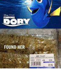 Damn, that's fishy.: FINDING  DORY  FOUND HER  DORY FILLET  11 0636 0706.16 4.90 0,256  TOTAL PACE  1255 Damn, that's fishy.