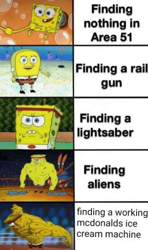 rail: Finding  nothing in  Area 51  Finding a rail  gun  Finding a  |lightsaber  Finding  aliens  |finding a working  mcdonalds ice  cream machine