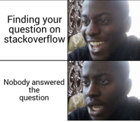 Stackoverflow, Moment, and Question: Finding your  question on  stackoverflow  Nobody answered  the  question This moment..