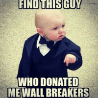 FINDLUHISGUY  WHO DONATED  ME WALL BREAKERS Never donate wall breakers.