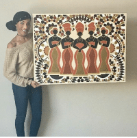 "Fine artist, Veronica Spruill, pictured with her original painting, ""Harambee: Sepia Sisters"". Visit her website to learn more about her as an artist, view-purchase her work and to subscribe for her periodic giveaways! @designsbyvspruill: Fine artist, Veronica Spruill, pictured with her original painting, ""Harambee: Sepia Sisters"". Visit her website to learn more about her as an artist, view-purchase her work and to subscribe for her periodic giveaways! @designsbyvspruill"