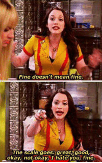 Memes, 2 Broke Girls, and 🤖: Fine doesn't mean fine.  The scale goes: great good,  okay, not okay, I hate your fine. 2 Broke Girls