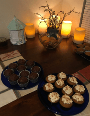 Finished baking my chocolate and pumpkin cupcakes! (First time my homemade frosting actually turned out okay): Finished baking my chocolate and pumpkin cupcakes! (First time my homemade frosting actually turned out okay)