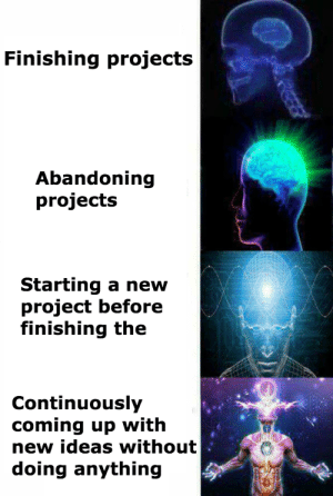 Ultimate Project Workflow: Finishing projects  Abandoning  projects  Starting a new  project before  finishing the  Continuously  coming up with  new ideas without  doing anything Ultimate Project Workflow