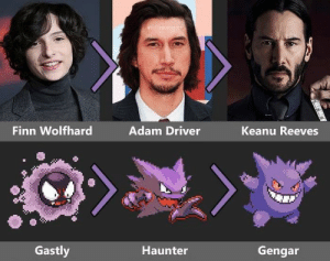 Looks legit as fuck.: Finn Wolfhard  Adam Driver  Keanu Reeves  Gastly  Haunter  Gengar Looks legit as fuck.