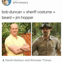 Beard, Ironic, and Sheriff: @finnskeery  bob duncan + sheriff costume+  beard = jim hopper  David Harbour and Strander Thinas