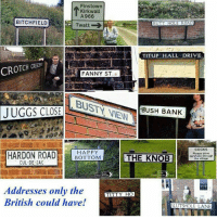 Butt, Dank, and Bank: Fins town  Kirkwall  A 966  BITCHFIELD  BUTT HOLE ROAD  Twatt  TITUPT HALL DRIVE  FANNY ST  21  US BANK  JUGGS CLOSE  COCKS  HAPPY  Please drive  THE KNOB  carefully through  BOTTOM  he village  CUL DE SAC  Addresses only the  TITTY HO  British could have!  SUUTSHOLE LANE Great BritainLAD.