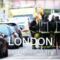 "Fire, Memes, and Police: FIR  FIRE  BBOMB An ""improvised explosive device"" has been detonated on a busy rush hour Tube train in London this morning. Police say they're treating the blast at Parsons Green station as terrorism. 22 people are being treated in hospital, mostly for burns. parsonsgreen london underground tube terror police unitedkingdom"