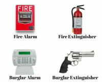 Fire, Memes, and Alarm: FIRE  ACTIVATED  PULL  DOWN  Fire Alarm  Fire Extinguisher  Burglar Alarm Burglar Extinguisheir