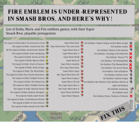 Blade, Fire, and Smashing: FIRE EMBLEM IS UNDER-REPRESENTED  IN SMASH BROS, AND HERE'S WHY!  List of Zelda, Mario and Fire emblem games, with their Super  Smash Bros. playable protagonists  The Legend of Zelda Zelda II: The Adventure of Link  The Legend of Zelda: A Link to the Past  BS The Legend of Zelda: Ancient Stone Tablets  The Legend of Zelda: Link's Awakening  The Legend of Zelda: Ocarina of Time  The Legend of Zelda: Majora's Mask  The Legend of Zelda: Oracle of Seasons  The Legend of Zelda: Oracle of Ages  The Legend of Zelda: The Wind Waker  The Legend of Zelda: Four Swords Adventures  The Legend of Zelda: Twilight Princess  The Legend of Zelda: The Minish Cap  The Legend of Zelda: Twilight Princess  The Legend of Zelda: Skyward Sword  The Legend of Zelda: Phantom Hourglass  The Legend of Zelda: Spirit Tracks  The Legend of Zelda: A Link Between Worlds  The Legend of Zelda: Tri Force Heroes  The Legend of Zelda: Breath of the Wild  Super Mario Bros  Super Mario Bros: The Lost Levels  Super Mario Bros. 2  Super Mario Bros. 3  Super Mario Worlod  Super Mario 64  Super Mario Sunshine  New Super Mario Bros.  Super Mario Galaxy  New Super Mario Bros. Wii  Super Mario Galaxy 2  Fire Emblem: Shadow Dragon and the Blade of Light  Fire Emblem Gaiden  Fire Emblem: Mystery of the Emblem  Fire Emblem: Genealogy of the Holy War  Fire Emblem: Thracia 776  Fire Emblem: The Binding Blade  Fire Emblem (The Blazing Blade)  Fire Emblem: The Sacred Stones ×  Fire Emblem: Path of Radiance  Fire Emblem: Radiant Dawn  Fire Emblem: Shadow Dragon  Super Mario 3D Land Fire Emblem: New Mystery of the Emblem (Heroes of  Light and Shadow)  Fire Emblem Awakening  Fire Emblem Fates  Fire Emblem Echoes: Shadows of Valentia  New Super Mario Bros. 2  New Super Mario Bros. U  Super Mario 3D World  Super Mario Odyssey