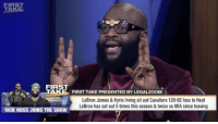 RickRoss sits with ESPN's FirstTake and discusses LeBronJames! 🏀🤔 @ESPNFirstTake @RichForever @KingJames WSHH: FIRS  TAKE  FIRST  TAKE FIRST TAKE PRESENTED BY LEGALZOOM  LeBron James & Kyrie lrving sit out Cavaliers 120-92 loss to Heat  LeBron has sat out5 times this season &twice vs MIA since leaving  RICK ROSS JOINS THE SHOW RickRoss sits with ESPN's FirstTake and discusses LeBronJames! 🏀🤔 @ESPNFirstTake @RichForever @KingJames WSHH