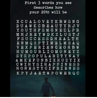 first: First 3 words you see  describes how  your 2018 will be  XCUA L O VEYKB WSNG  D UAW KCBE AUTYRJ V  YOUT HFSMGNE Z LP R  FSUCCESS D H E A LTH  H UMO URLIOMONEYZ  SYZ P OPUL ARI TYN A Y  HONEST YCIFRI END S