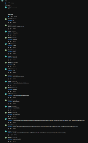 Sorry, youtube.com, and Good: First  5  REPLY  Hide replies  ArtSnail 3 weeks ago  Yes  Read more  1  REPLY  Maxime T 1 day ago  @ArtSnail yes  REPLY  Maxime T 1 day ago  Ok mec super jsuis content pour toi  REPLY  @Maxime T baguette  REPLY  1 day ago  @ArtSnail croissant  REPLY  ArtSnail 1 day ago  @Maxime T merci  REPLY  Maxime T 1 day ago  @ArtSnail bonjour  REPLY  ArtSnail 22 hours ago  @Maxime T francais  REPLY  Maxime T 22 hours ago  @ArtSnail Belge  REPLY  Ihours ago  ArtSnail  @Maxime T oui  REPLY  Maxime  10 hours ago  @ArtSnail anticonstitutionnellement  REPLY  ArtSnail 10 hours ago  @Maxime T supercalifragilisticexplialidocious  REPLY  Maxime  @ArtSnail ambiguité  REPLY  ArtSnail 9 hours ago  @Maxime  pseudopseudohypoparathyroidism  REPLY  @ArtSnail admonestation  @Maxime T monetization  REPLY  Maxime T 7 hours ago  @ArtSnail that's not french  REPLY  ArtSnail 7 hours ago  @Maxime T so is supercalifragilisticexpialidocious and pseudopseudohypoparathy roidism. I thought you were just going with rand om words. Well, our streak is gone now.  REPLY  Maxime T 7 hours ago  @ArtSnail I'm sorry I thought pseudopseudohypoparathyroidism was a French word and we only made French words so well played it was still a good series  REPLY  ArtSnail 7 hou rs ago  @Maxime T I really appreaciate this interaction. Peak of humanity. No worries. Have a good day and enjoy the youtube watching.  REPLY  Maxime T 7 hours ago  @ArtSnail I wish vou too DO  REPLY This wholesome interaction I didn't expect.