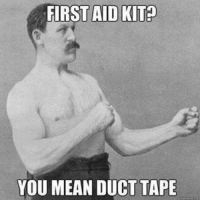 Overly manly man strikes again.