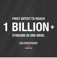 Drake, Congratulations, and Scorpion: FIRST ARTIST TO REACH  1 BILLION+  STREAMS IN ONE WEEK.  SCORPION  by  DRAKE Congratulations to Drake for reaching 1 Billion Streams in one week!  👏