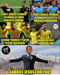 Jesus, Memes, and Brazil: FIRST CHOICE STRIKER FIRSTECHOICE STRIKER  IN BRAZILNT OVER  ROBERTO FIRMINO  INEMANCHESTERCITY  OVERSERGIOAGUERO'  Ir  19  1l  SECOND YOUNGEST PLAYER  TO CAPTAIN BRAZIL  NAMEDASNEXT  RONALDOLIMA  GABRIEL JESUSFORYOU! Gabriel Jesus 🙌🏻🔥