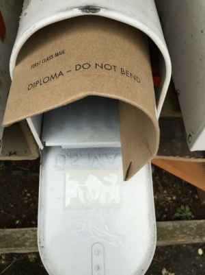Mail, The Real, and World: FIRST CLASS MAIL  O  NOT BEND  DIPLOMA DO Welcome to the real world!