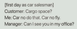 meirl by CondomFail28980 MORE MEMES: [first day as car salesman]  Customer: Cargo space?  Me: Car no do that. Car no fly.  Manager: Can I see you in my office? meirl by CondomFail28980 MORE MEMES