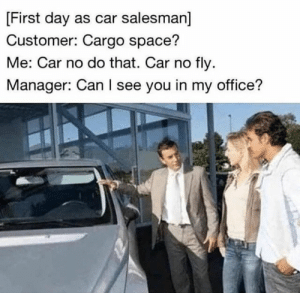 Friday, Memes, and Mega: First day as car salesman]  Customer: Cargo space?  Me: Car no do that. Car no fly  Manager: Can I see you in my office? 40 Mega Memes for Your Friday #memes