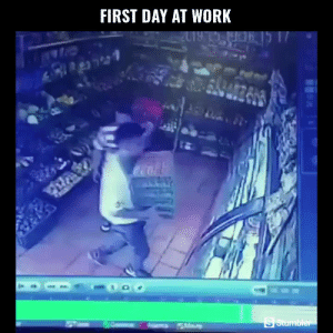 Funny, Memes, and Videos: FIRST DAY AT WORK RT @StumblerFunny: For more funny videos follow @StumblerFunny or visit https://t.co/wXxwph26cH https://t.co/G0BPKDP66y