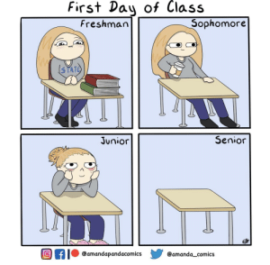 First Day of Class: First Day of Class  Sophomore  Freshman  3TATE  Senior  Junior  Of  @amandapandacomics  @amanda_comics First Day of Class