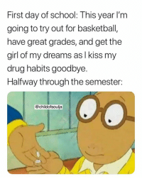 Basketball, School, and Girl: First day of school: This year l'm  going to try out for basketball,  have great grades, and get the  girl of my dreams as l kiss my  drug habits goodbye.  Halfway through the semester:  @childofsoulja Well damn 😂😭 https://t.co/Uij8bTpDf5