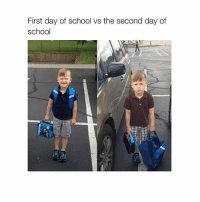 brb shower: First day of school vs the second day of  school brb shower