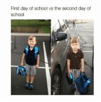 Friends, Funny, and School: First day of school vs the second day of  school If you think this sucks wait till you get a job you don't like to pay bills you don't like and have to go out with friends you don't like bc you made plans you don't like😖 schoolstruggle