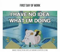That's about it!  http://www.memecenter.com/fun/5054491/i-can-amp-039-t-even-think-straight-t-t: FIRST DAY OF WORK  HAVE NO IDEA  WHAT PM DOING  MAKE REACTION GIFS AT MEMECENTER.COM That's about it!  http://www.memecenter.com/fun/5054491/i-can-amp-039-t-even-think-straight-t-t