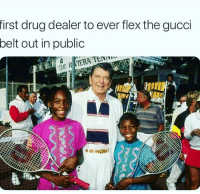 Drug Dealer, Flexing, and Funny: first drug dealer to ever flex the gucci  belt out in public Who did this 😂😂😂