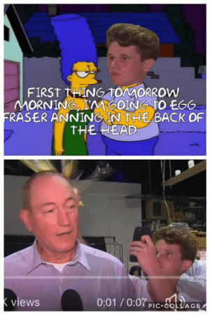 "Head, Memes, and Back: FIRST HING TONMORROW  MORNING, IMGOING TO EG6  FRASER ANNİNG IN tHE BACK OF  THE HEAD  views  0:01/0:07P COLAGE ""You know something I think your right!"" 😂🥚 #egged   Credit: Brandon Maloney‎ / #fraseranning"