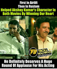 Kumud Mishra👌  <DrunkenMaster>: First In Airlift  Then in Rustom  Helped Akshay Kumars CharacterIn  Both Movies By Winning Our Heart  TROLL  din  FITrollBollywoo  He Definitely DeservesA Huge  Round of Applause ForHis Acting Kumud Mishra👌  <DrunkenMaster>