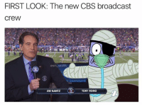 Chill, Memes, and Nfl: FIRST LOOK: The new CBS broadcast  CreW  @NFL MEMES  TONY ROMO  JIM NANTZ WHERE IS THE CHILL LMFAO