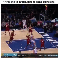 "Funny, Nba, and Cleveland: "" First one to land it, gets to leave cleveland""  20  NY 92  4th 46.2 13  ESFi NBA WEDNESDA  IMEOUTS3  BONUS Yall wildin 😂😂"