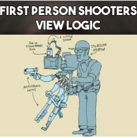 Logic, Memes, and Shooters: FIRST PERSON SHOOTERS  VIEW LOGIC  A LITTLE  SPOON  JAR OF  STEADICAM  STRAWBERRY  OPERATOR  JAM  ANIMATRONIC  ARMS Yang sebenarnya terjadi di dunia FPS :D @monkeynapkin dagelangaming gaming gamingonly gamers