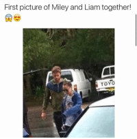 Hair, Pictures, and Girl Memes: First picture of Miley and Liam together!  TOYO miley is growing her hair out and probably got back with liam oh my gosh.