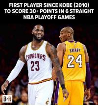 Nba, Cavaliers, and Games: FIRST PLAYER SINCE KOBE (2010)  TO SCORE 30+ POINTS IN 6 STRAIGHT  NBA PLAYOFF GAMES  BRANT  CAVALIERS  BR  NBA TV LeBron hit another level.