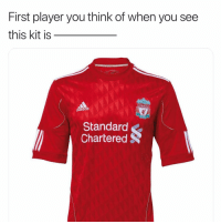 Adidas, Memes, and Liverpool F.C.: First player you think of when you see  this kit is  LIVERPOOL  adidas  Standard  Chartered 🤔🤔