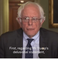 "Bernie Sanders, Memes, and Presidential Election: First, regarding Mr Trump's  delusional statement, ""The great political and democratic crisis we face in this country is not voter fraud, it is voter suppression.""  Bernie Sanders attacks President Donald J. Trump's claim that there was widespread voter fraud in the Presidential election as ""delusional""."