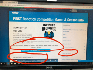Teaser number 2: FIRST Robotics CompetiX  ahttps://www.firstinspires.org/robotics/frc/game-and-season  O*  Programs  Community  Ways to Help  About  FRC  Donate  Register  Log in  FIRST  FIRST Robotics Competition Game &Season Info  INFINITE  Quick Links  RECHARGE  POWER THE  FUTURE  2020 Game &Season Materials INFINITE  RECHARGE  Renewable sources of energy are  Blog  everywhere, all the time. Working  together in the 2020 season of F  Robotics Competition IN  RECHARGESM  empred, inspired, and hopeful.  Kickoff  Season Calendar  an support boundless innovation and create a society t  Resource Library  We are proud to release our 'FIRST' ever second teaser trailer! See below  M chanical Resources  for more details!  Get more info abouL e ZVL SCauT  Roaister wour feam.  Field CAD Models  Kit of Parts  INFINITE RECHARGE Teaser #2  FIRSTRobotics Competition Suppliers  Chat now  2020 FIRST Robotics Competition - INFINITE REC  8:5  12/3  DELL Teaser number 2