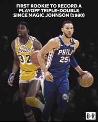Good company for Simmons.: FIRST ROOKIE TO RECORD A  PLAYOFF TRIPLE-DOUBLE  SINCE MAGIC JOHNSON (1980)  AKERS  PHIL  25  B-R Good company for Simmons.