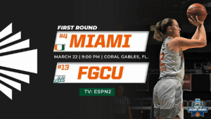 Basketball, Memes, and Ncaa: FIRST ROUND  MIAMI  #13 FGCU  #4  MARCH 22 9:00 PM I CORAL GABLES, FL.  TV: ESPN2  FIRST  SECOND ROUNDS The NCAA Tournament in your own barn.... it doesn't get much better than that! Come out and support Miami Hurricanes Women's Basketball as they host FGCU tonight at 9 p.m.  🎟: gocan.es/2unDlU6