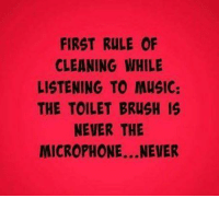 Music Meme: FIRST RULE OF  CLEANING WHILE  LISTENING TO MUSIC:  THE TOILET BRUSH IS  NEVER THE  MICROPHONE...NEVER