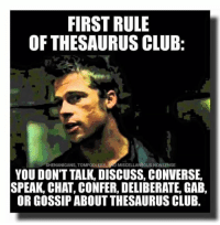 Shhhhh!: FIRST RULE  OF THESAURUS CLUB  SHENANIGANS, TOMFOOLERY AND MISCELLANEOUS NONSENSE  YOU DONT TALK, DISCUSS, CONVERSE,  SPEAK, CHAT, CONFER, DELIBERATE, GAB,  OR GOSSIP ABOUT THESAURUS CLUB. Shhhhh!