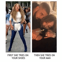 Casper, Grandma, and JLo: FIRST SHE TRIES ON  THEN SHE TRIES ON  YOUR MAN  YOUR SHOES Ohhh damnnnn are they dating ? But wait isn't she like 17 years older then him ? 😩😂 46 but she still hotttt though. but TBH she could be his mother she's almost a grandma... she also dated Casper smart he was 27 tf jlo you ain't young anymore... you ain't Jenny from the block no more take dudes from your own age 😂😩😂😭 • • • ‼️TAG US WHEN YOU REPOST‼️ kyliejenner kylie kimkardashian kim khloekardashian kourtneykardashian kendalljenner kanyewest kardashian jenner dash kyliecosmetics krisjenner robkardashian blacchyna kyga tyga KUWTK fake plastic surgery