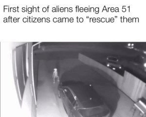 "Aliens, Dank Memes, and Area 51: First sight of aliens fleeing Area 51  after citizens came to ""rescue"" them false"