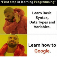Google, How To, and Programming: *First step in learning Programming*  Learn Basic  Syntax,  Data Types and  Variables.  Learn how to  Google. And what was your first step?